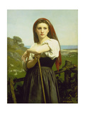 The Shepherdess, 1868 Art by William Adolphe Bouguereau