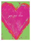 Heart-You Are Here- Pink & Green Giclee Print by Lisa Weedn