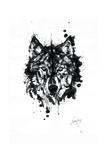 Inked Wolf Reproduction procédé giclée par James Grey
