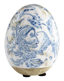 Terracotta Blue Floral Egg - Small Home Accessories