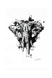 Inked Elephant Giclee Print by James Grey