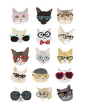 Cats with Glasses Print by Hanna Melin