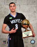 Zach LaVine with the 2015 NBA Slam Dunk Contest Trophy 2015 All-Star Game Photo