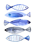 Retro Watercolour Fish Prints by Margaret Berg
