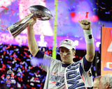 Tom Brady with the Vince Lombardi Trophy Super Bowl XLIX Photo