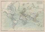 Ocean Current Map I Affiches par  The Vintage Collection