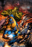Avengers Assemble No. 8: Thanos, Thor, Hulk Plastic Sign