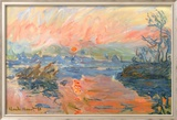 Lavacourt Sunset Posters av Claude Monet
