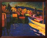 Autumn Landscapes with Boats Plakat af Wassily Kandinsky