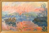 Claude Monet - Lavacourt Sunset Umělecké plakáty