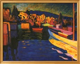 Paesaggi autunnali con barche Poster di Wassily Kandinsky
