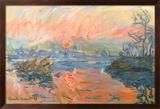Lavacourt Sunset Posters af Claude Monet