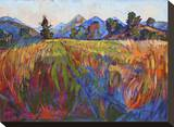 Scarlet Grass in Triptych (center) Stretched Canvas Print by Erin Hanson