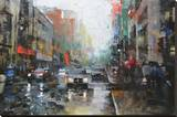 Montreal Rain Stretched Canvas Print by Mark Lague