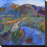 Scarlet Grass in Triptych (left) Stretched Canvas Print by Erin Hanson
