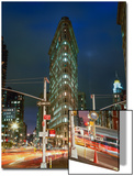 Flat Iron Building at Night - New York City Landmark Street View Posters by Henri Silberman