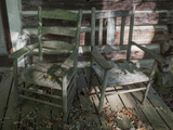 Old Wooden Chairs on Porch (Chapel Hill, NC) Metal Print by Henri Silberman