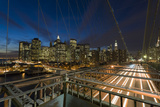 Lower Manhattan from the Brooklyn Bridge 3 (New York City at Night) Wall Decal by Henri Silberman