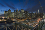 Lower Manhattan from the Brooklyn Bridge 2 (New York City at Night) Wall Decal by Henri Silberman