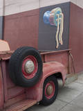 Red Truck Tires with Wall Painting (the Mission, San Francisco, CA) Wall Decal by Henri Silberman