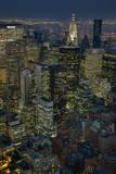 New York City, Top View with Chrysler Building (Night) Muursticker van Henri Silberman