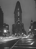 Flatiron Building, New York City, Front View at Night 1 Wall Decal by Henri Silberman