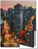 Flat Iron Building With Broadway and Fifth Avenue Dusk - New York City Landmarks Aerial View Prints by Henri Silberman