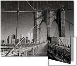 On The Brooklyn Bridge - Arches, Cables, Manhattan View, Day Prints by Henri Silberman