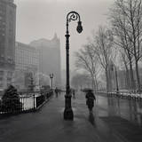 Under Lamp Post in Rain. Brooklyn Heights Wall Decal by Henri Silberman