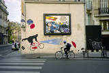French Umbrella Biker, Paris Wall Decal by Henri Silberman