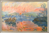 Lavacourt Sunset Poster by Claude Monet