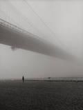 Lyn under Brooklyn Bridge in Fog Muursticker van Henri Silberman