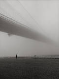 Lyn under Brooklyn Bridge in Fog Wall Decal by Henri Silberman