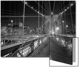 On the Brooklyn Bridge Night Posters by Henri Silberman
