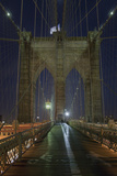 On Brooklyn Bridge Night 5 (Walkway, Arches, Lower Manhattan) Wall Decal by Henri Silberman