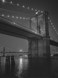 Brooklyn Bridge, New York City, Moon Metal Print by Henri Silberman