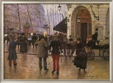 Boulevard des Capucines and The Vaudeville Theatre Print by Jean Béraud