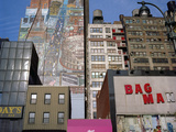 34Th Street, NYC Building Facades - Faded Murals, Old Signs Wall Decal by Henri Silberman