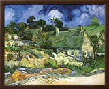 Thatched Cottages at Cordeville Poster by Vincent van Gogh