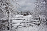 Snow Covered Gate and Old Farm Wide View Wall Decal by Henri Silberman