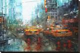 Times Square Reflections Stretched Canvas Print by Mark Lague