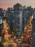Flat Iron Building With Broadway and Fifth Avenue Dusk - New York City Landmarks Aerial View Art sur métal  par Henri Silberman