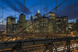 Lower Manhattan from the Brooklyn Bridge 1 (New York City at Night) Wall Decal by Henri Silberman