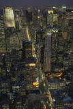New York City, Top View 8 (Looking Up Fifth Avenue, Night) Autocollant mural par Henri Silberman