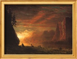 Deer at Sunset Poster by Albert Bierstadt