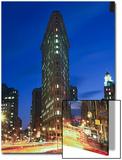 Flat Iron Building at Night 2 - New York City Landmark Street View Art by Henri Silberman