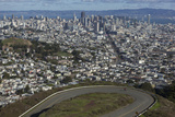 Twin Peaks View of San Francisco, CA 3 (City with Bay and Clouds) Wall Decal by Henri Silberman