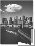 White Cloud over Brooklyn Bridge Boat Prints by Henri Silberman