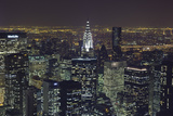 New York City, Top View 11 (Chrysler Building, Looking East, Night) Wall Decal by Henri Silberman