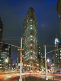 Flat Iron Building at Night - New York City Landmark Street View Wall Decal by Henri Silberman